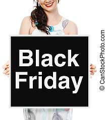 Black Friday Sale - A woman holding a Black Friday sale...