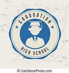 graduation label over pattern background vector illustration