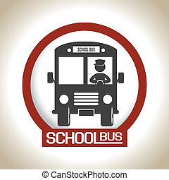 school bus over beige background vector illustartion
