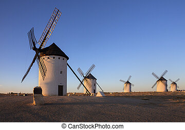 La Mancha - Spain - Late afternoon sunlight of the windmills...
