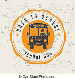 school bus over pattern background vector illustartion