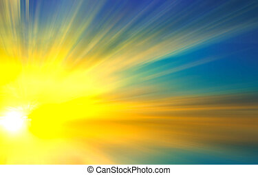 abstract sunset at sea with sun rays