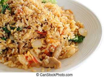Thai local food, pork fried rice.