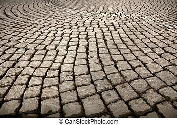 Street with cobblestones - Background of street paved with...