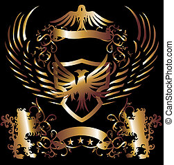 golden frame lion and eagle vector art
