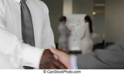 Masculine handshake - Close-up of business partners greeting...
