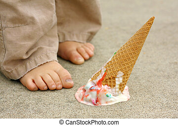 Dropped Ice Cream Cone by Childs Feet - a dropped rainbow...