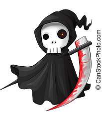 Grim Reaper - Cute cartoon grim reaper with scythe isolated...