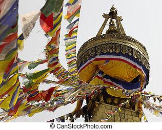 Boudhanath Stupa - Kathmandu - Nepal - Prayer flags on...