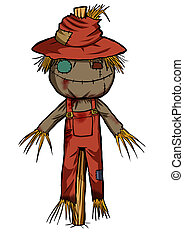 Scarecrow - Cartoon illustration of a scarecrow isolated on...