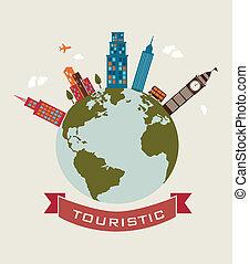 touristic design over beige background vector illustration