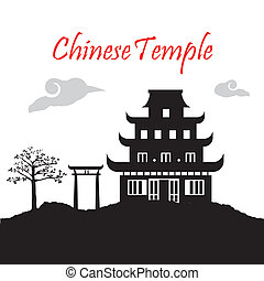 chinese temple over white background vector illustration