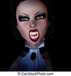 3d vampire in the dark - Digitally rendered image of a...