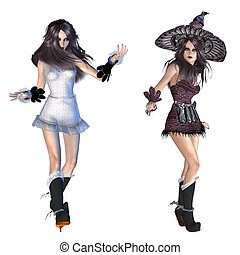 3d witch - Digitally rendered image of a witch woman on...