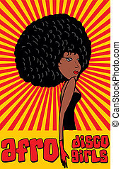 disco style afro girls vector art