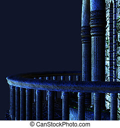 Night balcony - Digital render of a dark gothic balcony at...