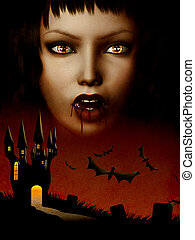 Castle of vampire - Grunge illustration of halloween castle...