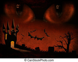 Evil eyes - Grunge illustration of halloween castle...