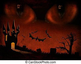 Evil eyes - Grunge illustration of halloween castle...