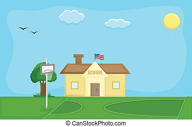 School House Vector Background - Drawing Art of School House...