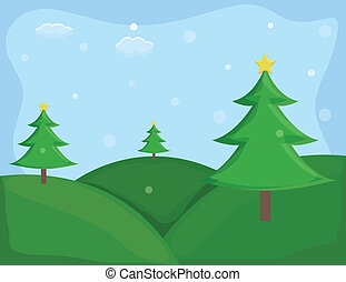Christmas Trees Nature Background - Drawing Art of Christmas...