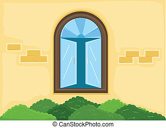 House Window Outside Wall Vector - Drawing Art of Window -...