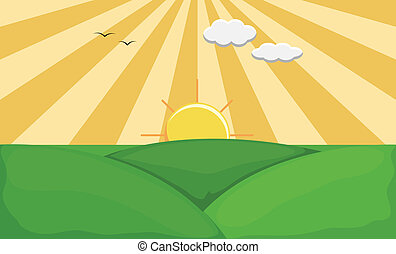Sunrise Landscape Nature Background - Drawing Art of Sunrise...