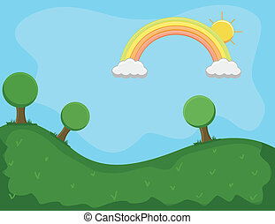 Beautiful Rainbow Landscape Vector - Drawing Art of...