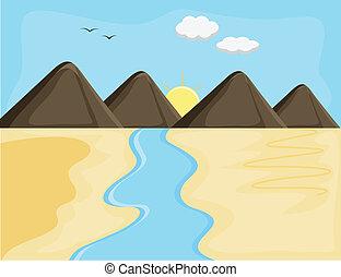 Sunrise Mountain River Landscape