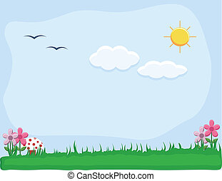 Garden Landscape Nature Background - Drawing Art of...