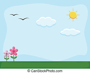 Nature Landscape Cartoon Background - Drawing Art of Nature...
