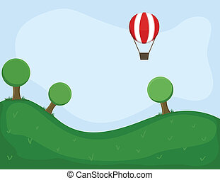 Air Balloon in Green Land Vector