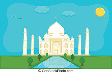 Memorial Taj Mahal Vector - Drawing Art of Taj Mahal -...