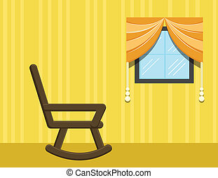 Swing Chair Furniture Vector - Drawing Art of Chair in Room...