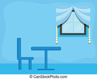 Restaurant Table and Chair Vector - Drawing Art of Room...