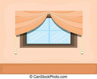Window Design Vector Room Interior - Drawing Window -...