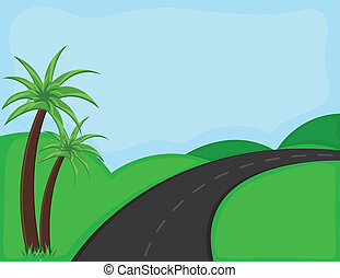 Mountain Road Vector Background - Drawing Art of Way -...