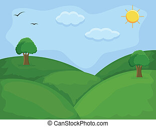 Green Hills - Cartoon Background - Drawing Art of Green...