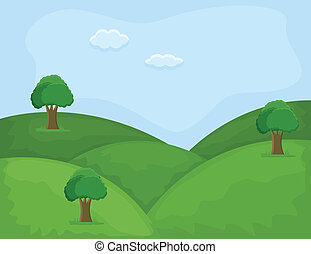 Hill Area - Cartoon Landscape - Drawing Art of Hill Area -...