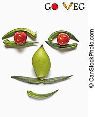 Amusing face made from vegetables Lady finger, Go Veg,...