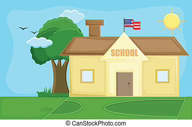 School House - Cartoon Background - Drawing Art of School -...