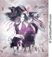 Girl with ravens manipulation - Illustration of a girl with...