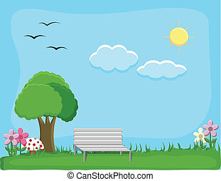 City Park - Background Vector - Drawing Art of City Park -...