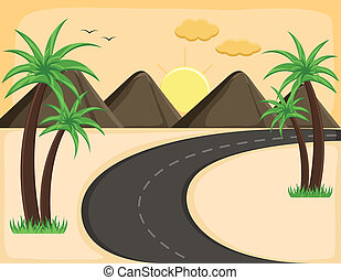 Evening Landscape - Cartoon Vector