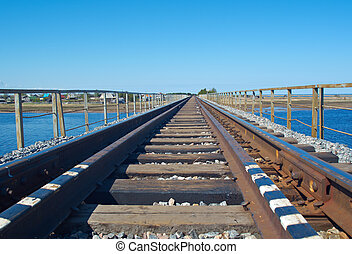 rail road bridge under cloudy blue sky