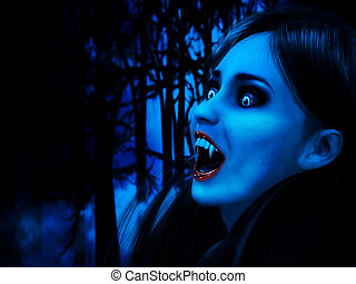Night of vampires - Illustration of 3d rendered vampire girl...