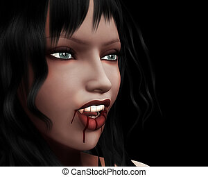 Portrait of vampire girl - 3d digitally rendered image of...