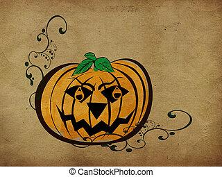 Vintage halloween pumpkin background - Abstract grunge...