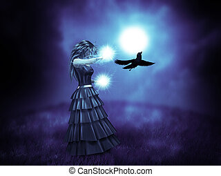 Witch and raven - Abstract illustration of woman in black...
