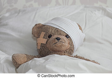 Teddybear in bed